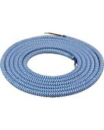 Câble textile rond 2 mètres Bleu Clair & Blanc