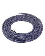 Câble textile rond 2 mètres Bleu foncé & Blanc