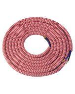 Câble textile rond 2 mètres Blanc & Rouge
