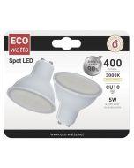 Lot de 2 Spot LED 270° 5W GU10 Blanc neutre 400Lumens 100°