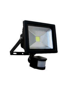 Projecteur LED détecteur de présence 50W Noir Blanc Chaud