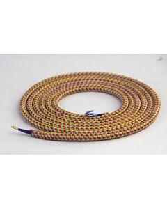 Câble textile rond 2 mètres Mélange de Rouge & Violet