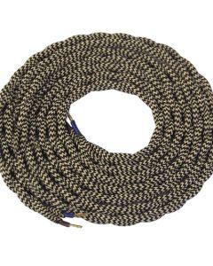 **DIY** Câble torsadé écru et noir 2 mètres 2 x 0,75mm2