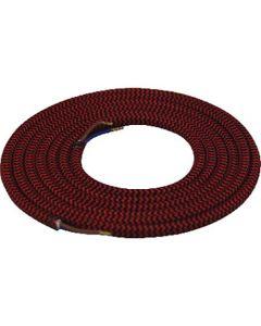 Câble textile rond 2 mètres Noir & Rouge