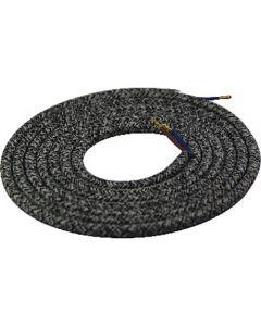 Câble textile rond 2 mètres Mélange de Gris & Noir
