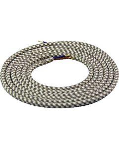 Câble textile rond 2 mètres Mélange de Blanc & Gris