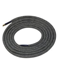 Câble textile rond 2 mètres Mélange d'Argent & Gris