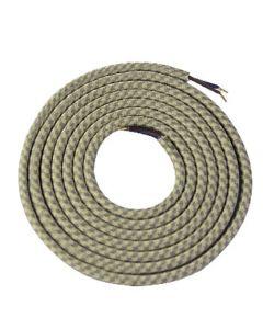 Câble textile rond 2 mètres Beige & Kaki