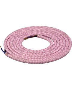 Câble textile rond 2 mètres Rose & Blanc