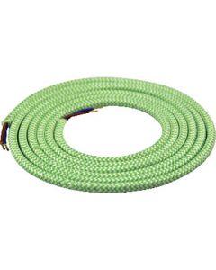 Câble textile rond 2 mètres Mélange de Vert & Blanc