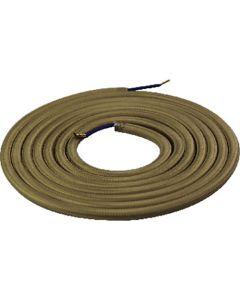 Câble textile rond 2 mètres Beige Doré