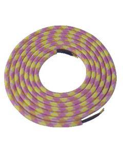 Câble textile rond 2 mètres Rose, Jaune & Blanc