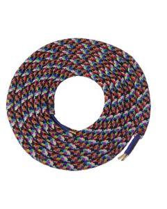 Câble textile rond 2 mètres Mélange de Couleur