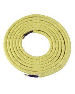 Câble textile rond 2 mètres Mélange de Jaune & Blanc