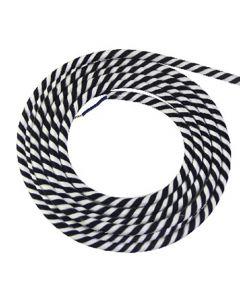 Câble textile rond 2 mètres Spirale Noir & Blanc