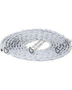 Câble torsadé textile blanc - 2m