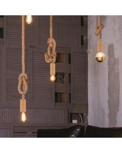 Suspension corde de chanvre + bois avec douille E27