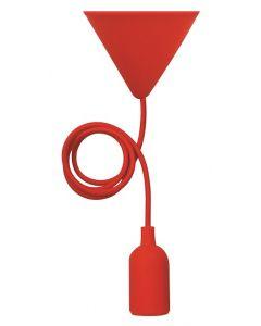 Suspension silicone E27 avec câble textile - Rouge