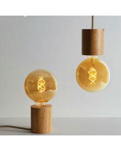 KIT Éclairage en bois : Suspension + Globe E27 LED Twisted