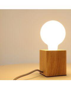 Support Lampe en Bambou Carré E27 Câble Noir/blanc