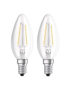 Lot de 2 Ampoules Flamme Filament LED 2.8W E14 Blanc chaud 250lm Clair