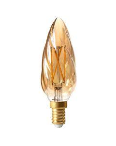 Flamme F6 filament LED 5W E12 2500K 420Lm dim Ambrée - Culot Américain