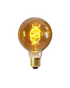 Ampoule Globe G95 Filament LED Torsadé 5W E27 2000K 260Lm Ambrée