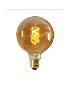 Ampoule Globe G125 Filament LED TWISTED 4W E27 2000K 200Lm Dim. Ambrée