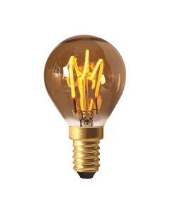 Sphérique G45 filament LED 3 loops 3W E14 2000K 100Lm dim Ambré