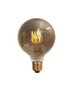 Ampoule Globe G125 filament LED twisted 4W E27 2000K 160Lm dim Smokey