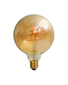 Ampoule Globe G125 filament LED torsadé 4W E27 Blanc doux Ambrée