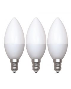 Lot de 3 - Ampoule Flamme LED 5W E14 Blanc chaud Opaline