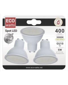 Lot de 3 Spots GU10 LED 5W Blanc neutre 400Lm 100° Opaline