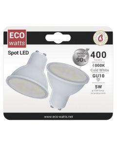 Lot de 2 Spot LED 270° 5W GU10 Blanc froid 420Lumens 100°