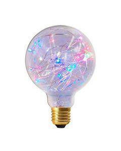 """Ampoule Globe G95 """"Happy In"""" 1,5W E27 Multicolore Clignotante"""