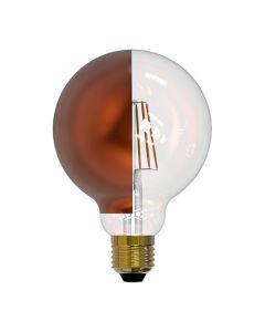Ampoule Globe D95 calotte latérale Bronze filament LED 8W E27 Blanc chaud 950Lm dimmable