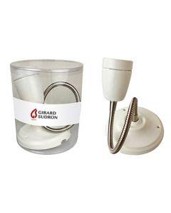 Applique Pavillon et Douille E27 Céramique Blanche + Flexible Chromé
