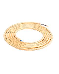 Câble Textile Rond 2x0,75mm2 Double Isolation Beige 2 Mètres