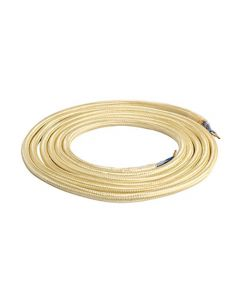 Câble Textile Rond 2x0,75mm2 Double Isolation Or 2 Mètres