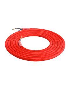 Câble Textile Rond 2x0,75mm2 Double Isolation Rouge 2 Mètres