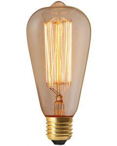 Ampoule Edison Filament métallique droit 60W E27 Blanc chaud 240lm