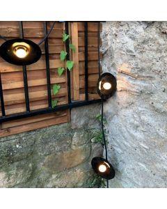 Paris Guinguette - Guirlande lumineuse extérieur 5m avec 5 douilles E27 - Noire