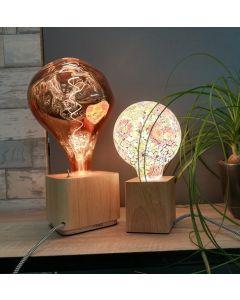 Support en bambou avec câble textile noir et blanc E27