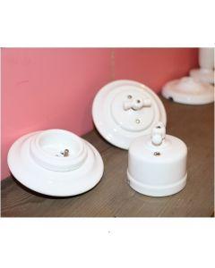 Interrupteur rotatif complet à encastrer en porcelaine Blanche