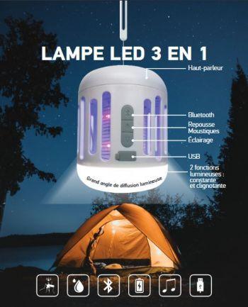 Lampe LED 3en1 Enceinte Bluetooth Repousse moustiques 7W