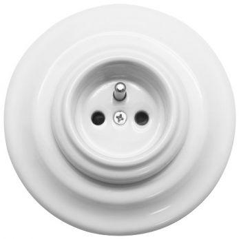 Prise complète avec terre en Porcelaine blanche