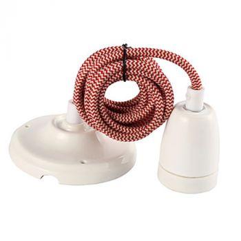 Suspension Douille E27 et Pavillon Céramique Blanche + câble 2 Mètres Textile Blanc/Rouge